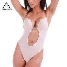 TOPMELON Backless Invisible biustonosz Nude Body bezszwowe biustonosze urządzenie do modelowania sylwetki bielizna kobiety Plunge regulowany pasek wyciąć biustonosz