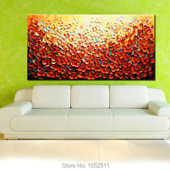 Hand Painted Palette Knife Flowers Oil Painting Wall Art Canvas Picture Modern Abstract Home Decor Living Room orange