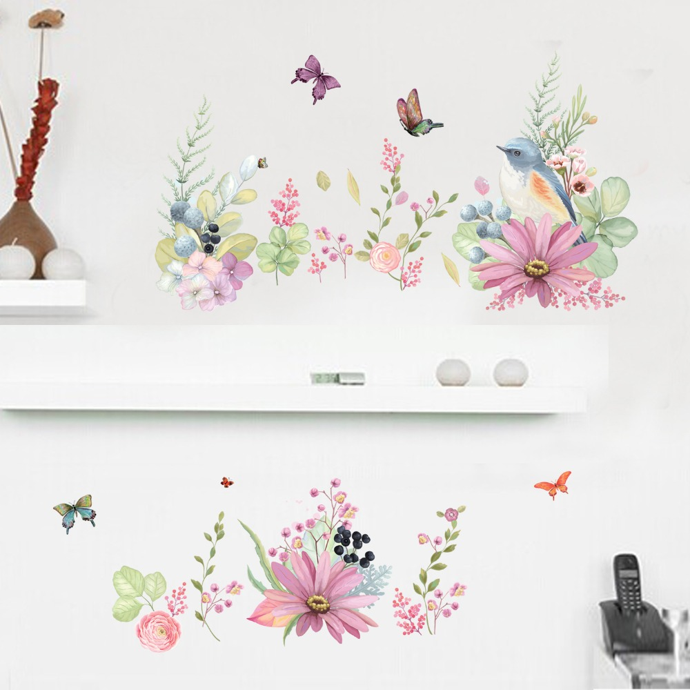 Simulation painted flowers and birds wall stickers home decoration garden wind butterfly ...