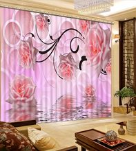 Pink Rose Curtains For Room Custom Girl Curtains Blackout Home Decor For Window Curtains 3D Kitchen Curtains Drapes(China)