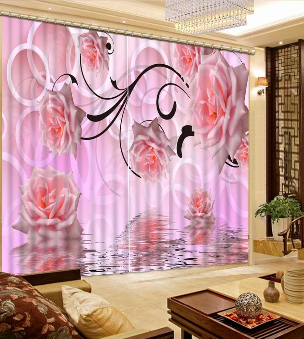 Pink Rose Curtains For Room Custom Girl Curtains Blackout Home Decor For Window Curtains 3D Kitchen Curtains Drapes
