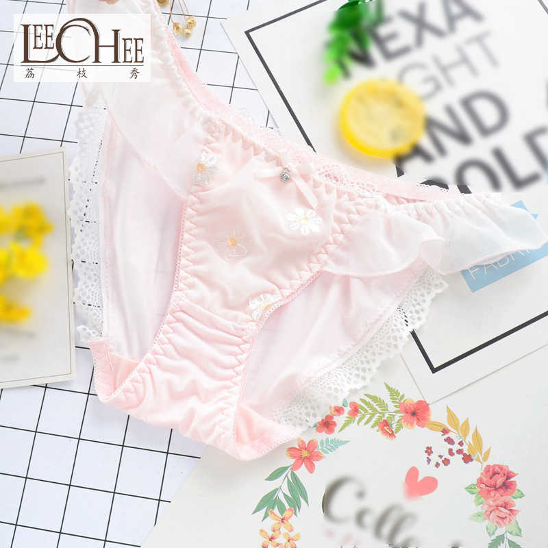 2d5687c5e8 Girl wind Japanese new small flower embroidery flying milk silk student  briefs ladies underwear JF1008