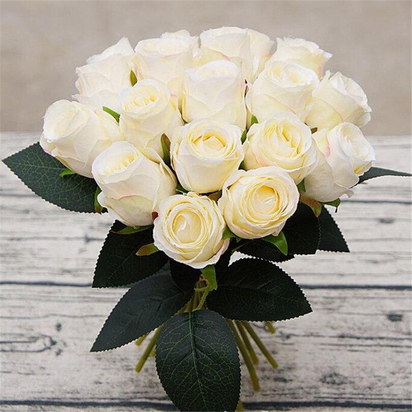 One Bunch Rose Flower Silk Bridal Bouquet Artificial 18 Heads Rose ...