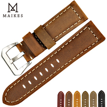 MAIKES Genuine Leather Watch Strap 22mm 24mm 26mm Retro Brown Watchband Accessories Band For Panerai