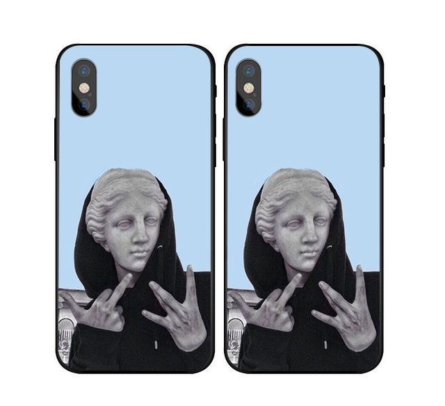 wholesale dealer 7c421 89f91 US $2.3 |david statue Case For iphone X 7 8 XS XR Black silicone case For  Samsung s7 s8 s9 Off Stripes zebra crossing white Case Cover-in Fitted  Cases ...