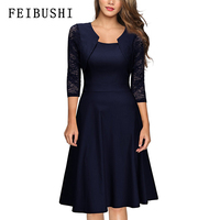 FEIBUSHI Women's Elegant Summer Lace Sleeve Tunic Pin Up Vintage Work Office Casual Party A Line Cocktail Swing Dress plus size