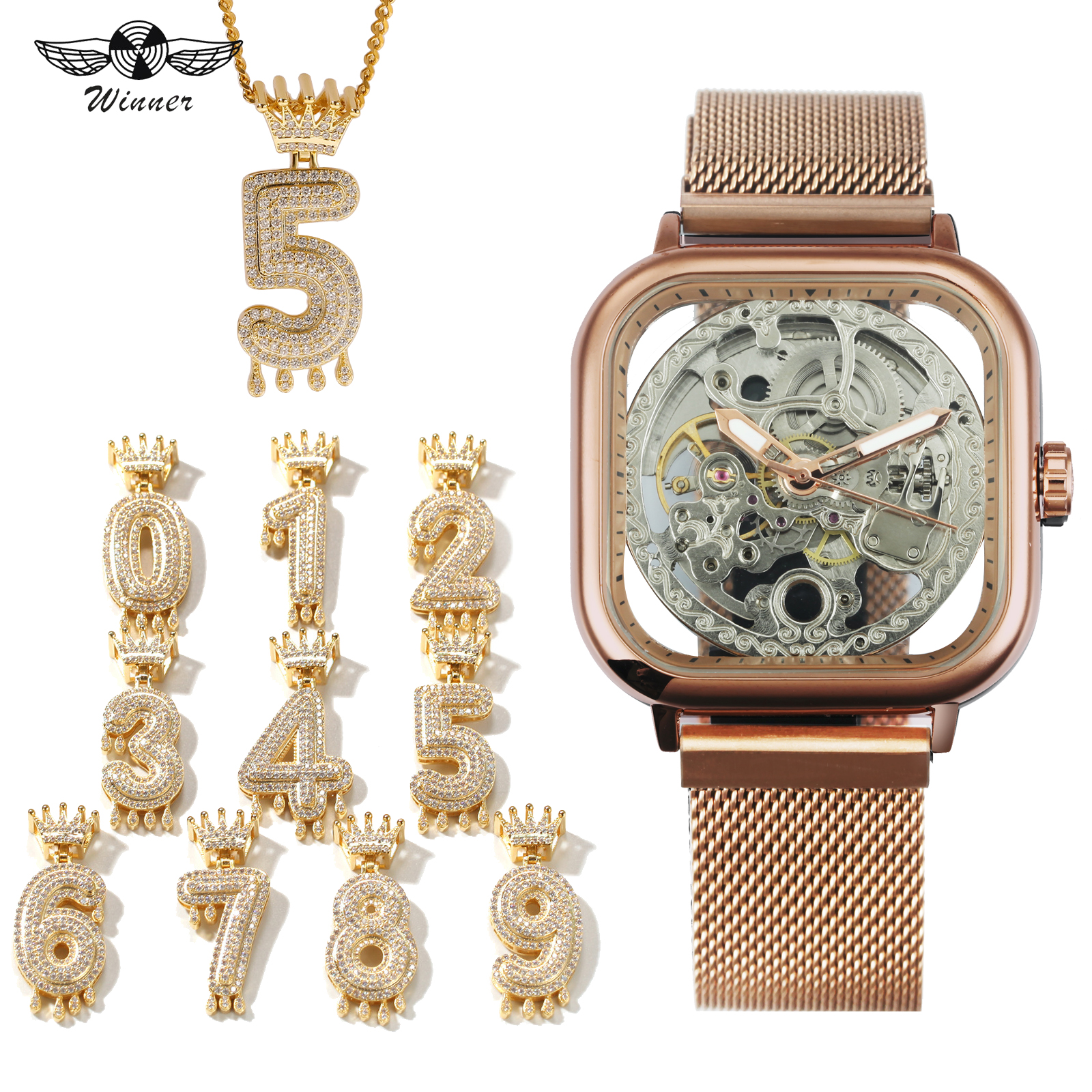 WINNER Mens Watches Top Brand Luxury Punk Jewelry Set Hip Hop Auto Mechanical Wristwatch + Crown Number Iced Out NecklaceWINNER Mens Watches Top Brand Luxury Punk Jewelry Set Hip Hop Auto Mechanical Wristwatch + Crown Number Iced Out Necklace
