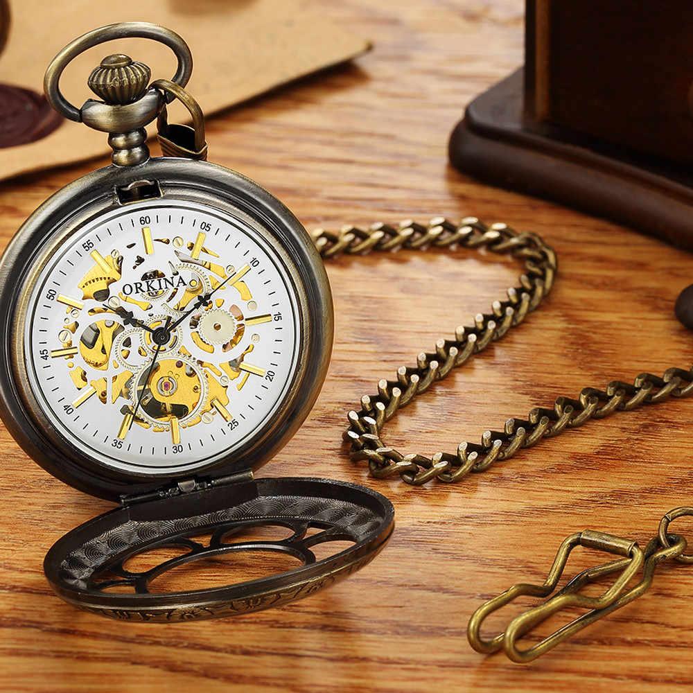 Ancienne montre de poche Antique hommes creux mécanique Steampunk Fob montre de luxe Top marque ORKINA Vintage montre de poche pendentif horloges