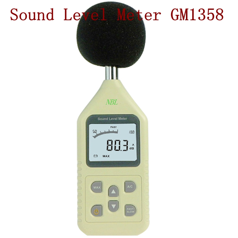 ФОТО GM1358 30-130dB Digital Sound Level Meter LCD Screen Display Noise Tester In Decibels Accuracy 1.5dB CE/ROHS/FCC Sandard