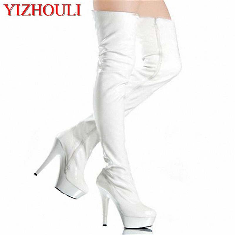 women Pole Dance thigh high boots Sexy Model Shoes Ultra 15cm Platforms buckle strap High Heel Dance Shoes white model stage performance women s boots autumn winter low tube boots crystal shoes 15cm high heel dance shoes