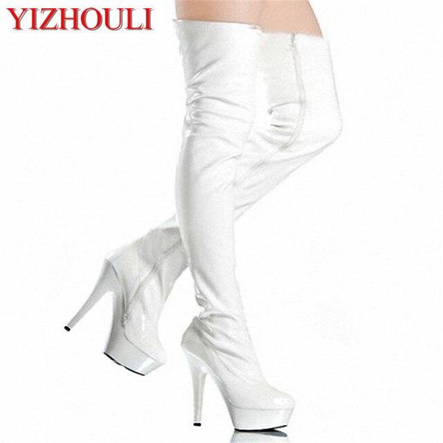 women Pole Dance thigh high boots Sexy Model Shoes Ultra 15cm Platforms  buckle strap High Heel Dance Shoes 3e5a3eef4372