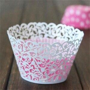 Image 3 - Molde de papel calado para cupcakes, 12 Uds., oferta, corte láser, encaje de vid pequeña, forro de envoltura, copa para hornear, molde de papel calado para pastel, DIY, Fondant, Cupcake