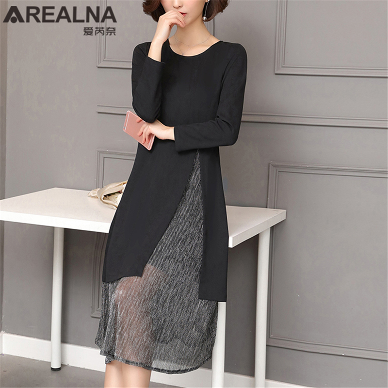 7816f6e5eea3a Detail Feedback Questions about Fall Winter Mid Dresses for Women Vintage Long  Sleeve Black Patchwork Mesh Shiny Lurex Dress Plus Size Sexy Dress Female  ...