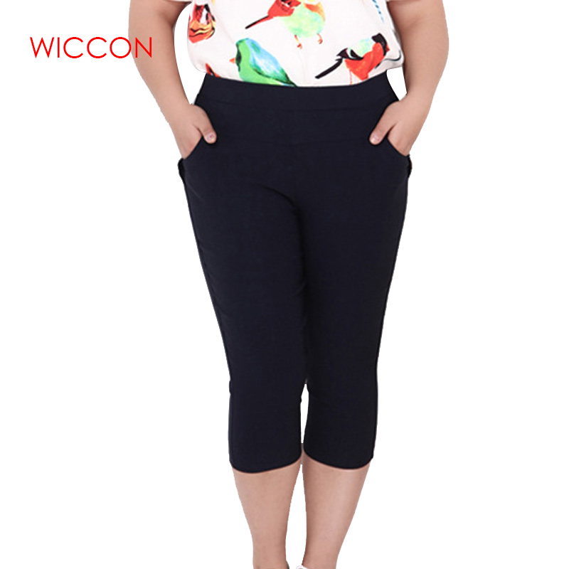 Plus Size Female Elastic   Pants     Capris   Good Quality High Waist Women Crops Stretch Summer Calf-length Pencil   Pants