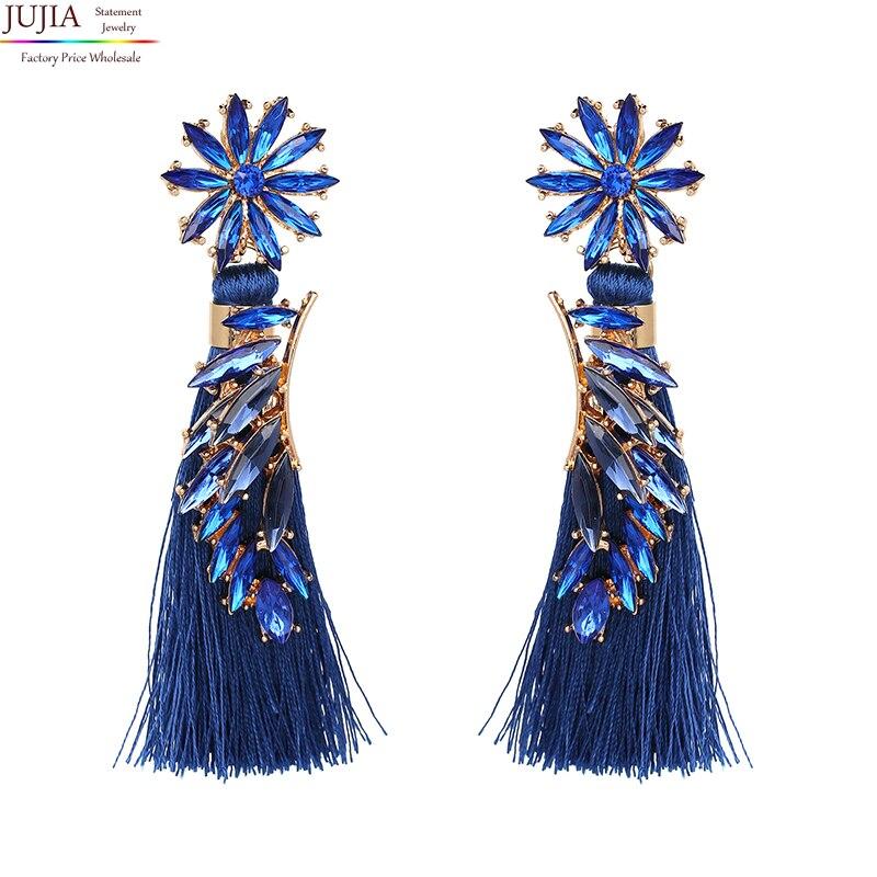 JUJIA 4 colors statement flower crystal earrings tassel drops Earrings for party fashion jewelry earring women Fringing earrings