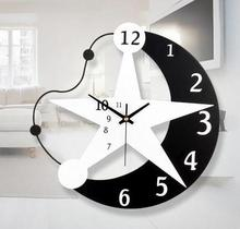2016 New Arrival Wall Clock Stars Moon Watch Home Decor Living Room Quartz Needle Saat modern design Horloge Murale Brief Klok