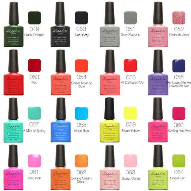 1PCS Sapphire Nail Gel Polish Newest 80 Fashion UV Gel Polish Varnish 7.3 ML Soak Off Long-Lasting Nail Art Gel 61-80