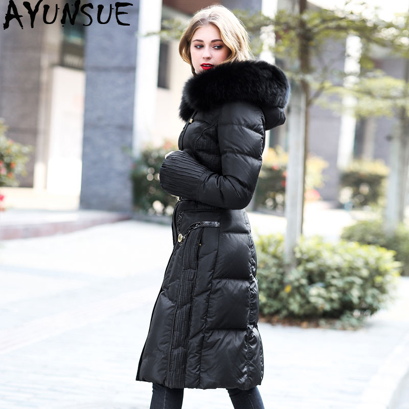 Long Winter Duck Down Jacket Women Hooded Warm Puffer Jacket Real Fox Fur Collar High Quality Korean Women's Jackets 2019 U13357