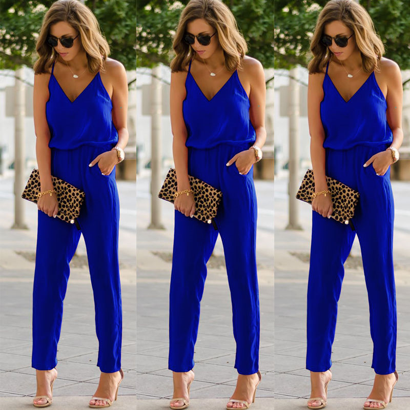 Grab The Summer Tail Fashion Casual Womens Sexy Strap V Neck Solid Slim Sleeveless Bodycon Jumpsuit Romper Trousers Clubwear