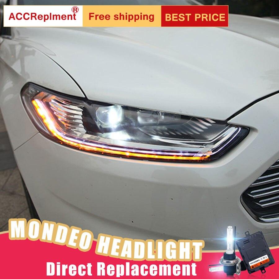 2Pcs LED Headlights For Ford Mondeo 2013 2015 led car lights Angel eyes xenon HID KIT