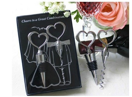 China Craft Supplies/Wine Bottle Opener 100sets Heart Shaped Great Combination Corkscrew And Stopper Sets Wedding Favors Gift/E1