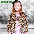SOGNI KIDS Girls Leopard Coat Baby Artificial Pearls Single Breasted Outwears 2016 Fashion Toddler Bowknot Autumn Winter Coats