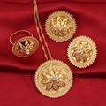 Bangrui Novo Etíope Set Jóias Cadeia Pingente/Brinco/Anel Set Jóias 24 k Banhado A Ouro de Casamento Habesha Eritreia africano