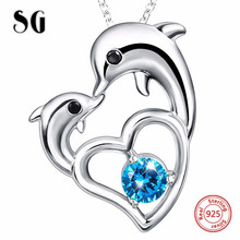 100% 925 sterling silver heart shape  lovely animal dolphin pendant chain necklace with CZ diy fashion jewelry making for women