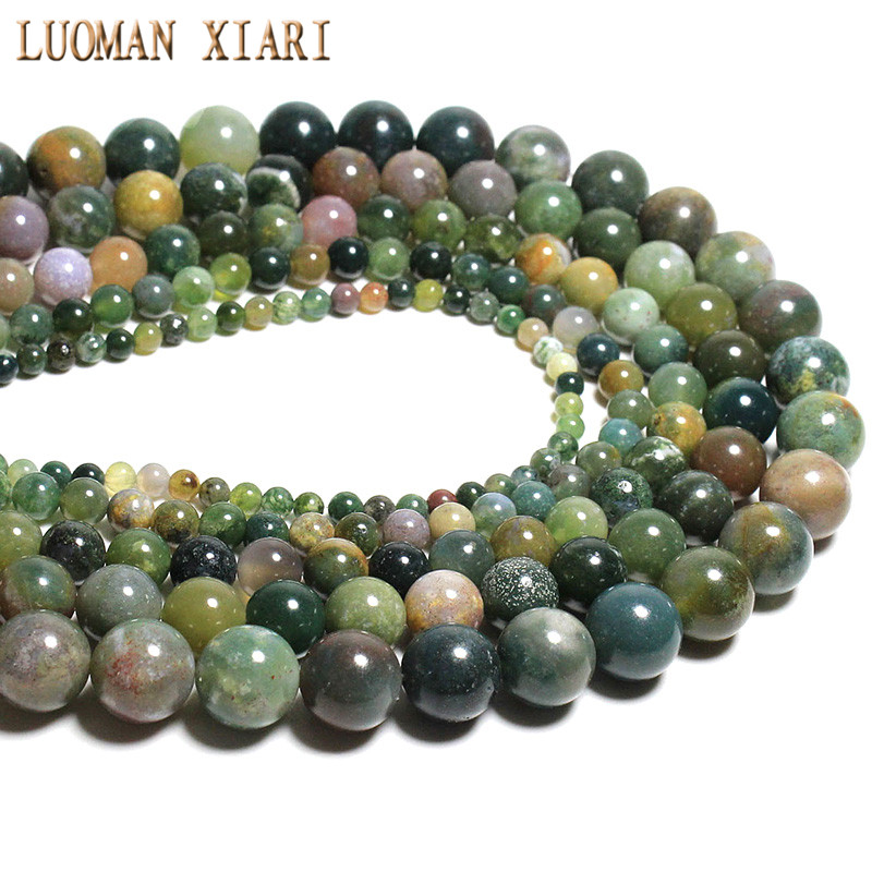 AAA Quality India Agat Natural Stone Beads For Jewelry Making Crystal Beads Diy Necklace Bracelet 6mm 8mm 10mm 12mm Round Beads