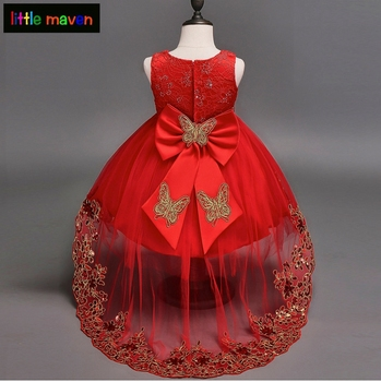 2-12 Yrs Baby Girls Wedding Dress 3 Colors Ball Gown Dresses Birthday Party Christmas Baby Girls Clothes Sequined Bow Embroidery