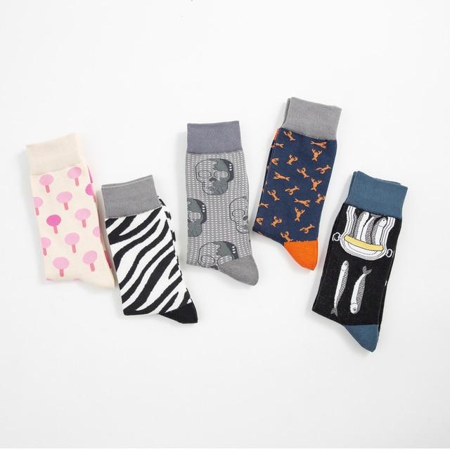 Jhouson 1 pair Drop Shipping Men Cotton Funny Crew Socks Creative Colorful Causal Dress Wedding Socks Cool Crazy Street Wear 5