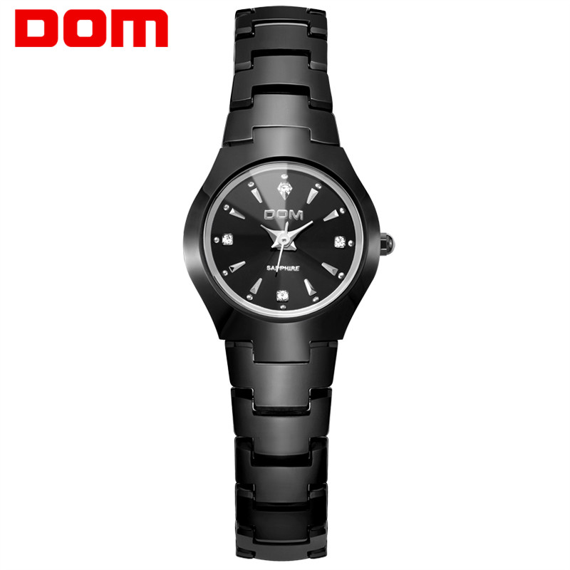 DOM Fashion Watch Women relogio feminino Dress quartz watches gold silver waterproof Tungsten Steel bracelet watches W-398BK-1M guanqin fashion women watch gold silver quartz watches waterproof tungsten steel watch women business bracelet gq30018 b