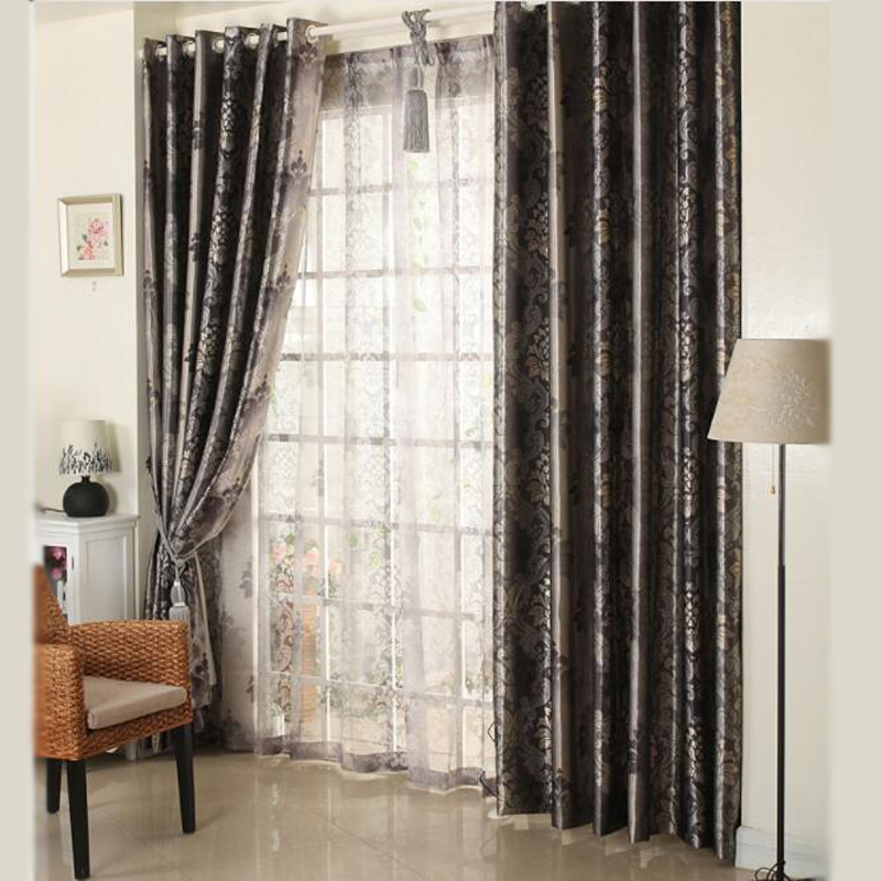 Black Floral Jacqaurd High Blinds 3 Pass Fabric Curtain For Livingroom Red  Black Out Custom Size