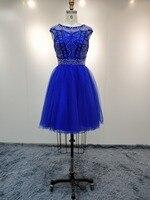 Королевский синий Homecoming платья 2018 Тюль из бисера Короткое платье для выпускного вечера вечерние коктейльные Свадебная вечеринка платье
