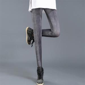 Image 4 - Ygyeegカウボーイスリムレギンス2019新ファッションレギンス女性のためのデニムパンツスリムフィットネスプラスサイズレギンス婦人服