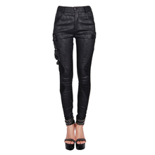 Devil Fashion Black Jacquard Clara Women's Gothic Pants Leggings with Skull and Rivets Female Slim Fit Figure Hugging Trousers