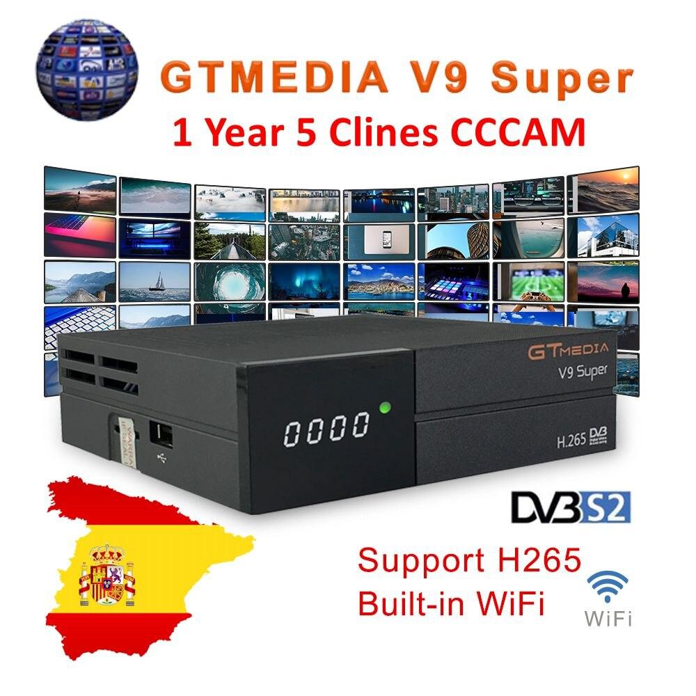 Gtmedia v9 super tv digital receptor de satélite DVB-S2 h.265 dre & biss chave 1 ano espanha cccam pk freesat v7 v8 x96 h96 x96 mini