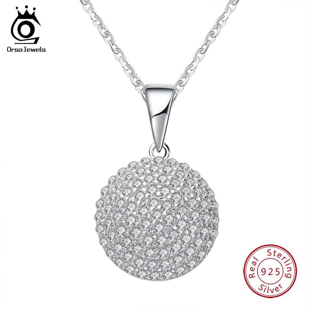 ORSA JEWELS Top Quality Trendy Round 925 Sterling Silver Jewelry Pendant AAA CZ Necklace With 45CM Chain SN60