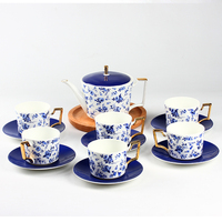 13 قطع الأزياء الأزرق زهرة العظام الصين القهوة مجموعة: 1 وعاء 6 كوب القهوة 6 القهوة القهوة والصحن مجموعة الشاي هدية الديكور المنزلي