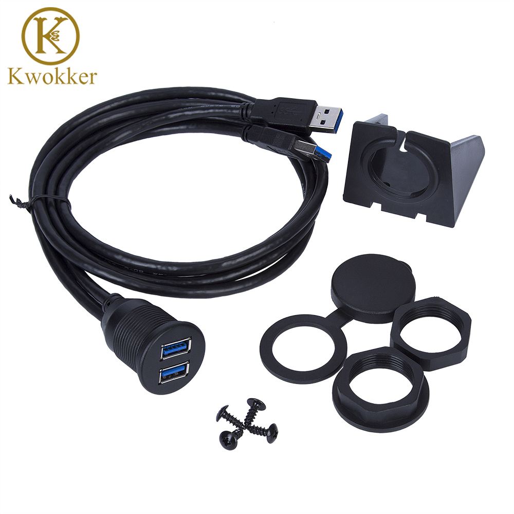 KWOKKER 1M Dual USB Socket Extension Cable Car Van Dashboard Flush Mount 2 USB Plug Lead Panel Data Cord Motorcycle Wire Charger комбинезон утепленный для девочки batik аля цвет розовый 144 19з размер 80