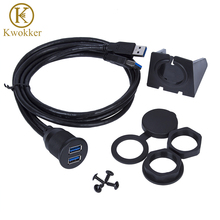 KWOKKER 1M Dual USB Socket Extension Cable Car Van Dashboard Flush Mount 2 USB Plug Lead Panel Data Cord Motorcycle Wire Charger цена и фото