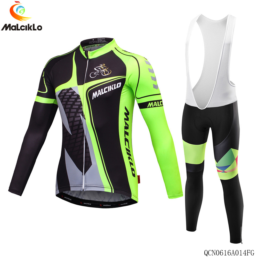 Malciklo Green Cycling Jerseys Long Sleeve Spring Autumn Bicycle Wear Bike Clothing MTB  Ropa Ciclismo 2017 new pro team cycling jerseys bike clothing ropa ciclismo breathable short sleeve 100