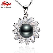 цены FEIGE New Design 9-10MM Black Freshwater Pearl Pendants Real 925 Sterling Silver Pendant Necklace For Women Fine Pearl Jewelry