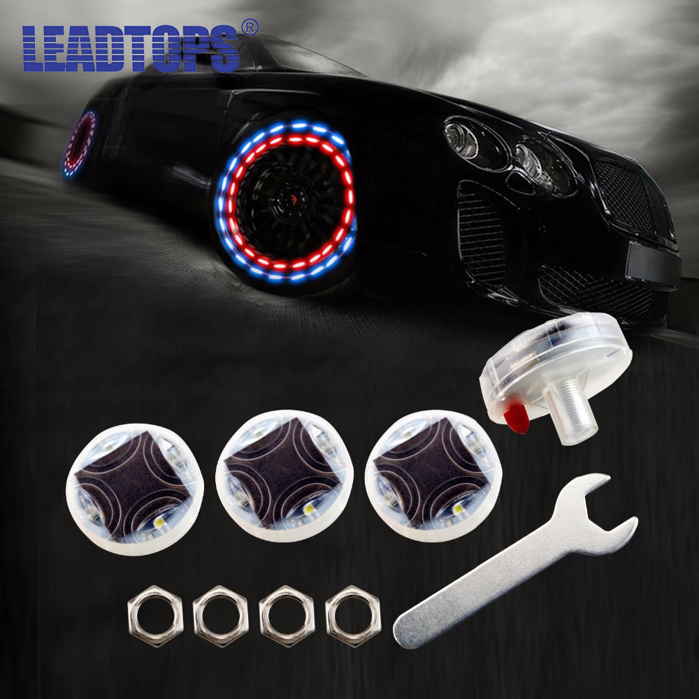 4 unids / lote Impresionante Impermeable Solar Car Tuning Aas Boquilla Cap Lámpara Rim Light Wind Fire Wheels Led Flash Lamp Tire Light AE