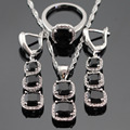 Square Black Created Sapphire White CZ Silver Color Jewelry Sets For Women Earrings/Rings /Necklace/Pendant Free Gift Box