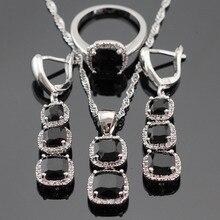 Cuadrado Negro Creado Zafiro Blanco CZ Sistemas de La Joyería Para Las Mujeres de Color de Plata Pendientes/Anillos/Collar/Colgante Del Envío Caja de regalo