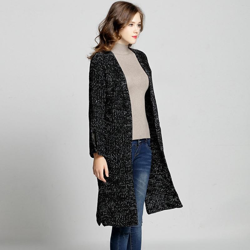 Femmes Blanc 4xl Manteau La Acrylique 2017 Longues Manches Mode 5xl Hiver Automne Noir Casual Chandail Tricoté Plus Cardigans Taille Outwear rrqwvf
