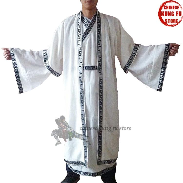Custom Unisex Wudang Taoist Long Robes Tai Chi Uniforms Shaolin Monk Suit Wing Chun Martial Arts Uniform