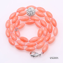 JYX Charming High Quality 5-5.5mm Pink Coral Necklace rice shape with round Czech Zircon pendant women Gemstone Jewelry 18