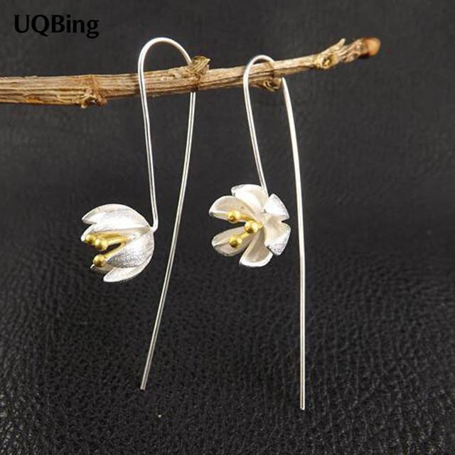 925 Silver Drop Earrings Lotus Flower